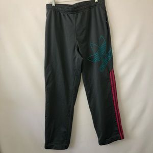 Adidas Joggers Size Medium Grey Pink Green